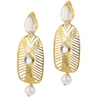 Kriaa Gold Plated Pearl Drop Kundan Earrings - 1305028