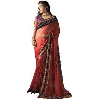 YSK Red Party Saree Georgette Embroidery Border Indian Sari