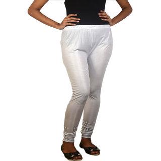 White Stretchable Lycra Shimmer Leggings: Buy White Stretchable ...