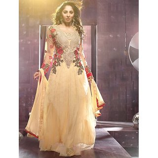 Thankar Cream And Red Embroidered Net And Georgette Anarkali Suit