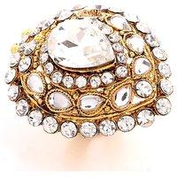 GoldNera Adorable White & Golden Crystal Ring for Women