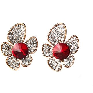 Gorgeous Flower Style White  Maroon Earrings - 778.1