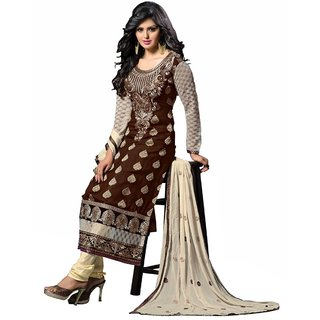 Shopping Queen Brown Party Wear Designer Semi-Stitched Salwar Suit