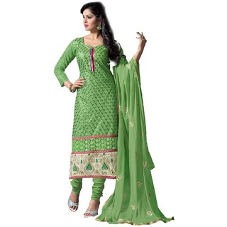Shopping Queen Elegant Green Party Wear Designer Semi-Stitched Salwar Suit
