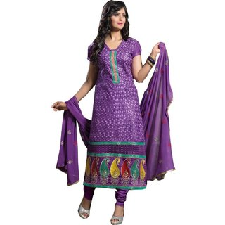 Shopping Queen Purple Party Wear Designer Semi-Stitched Salwar Suit