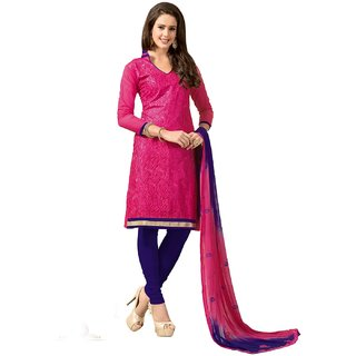 Shopping Queen Pretty Pink Chanderi Semi-Stitched Salwar Suit
