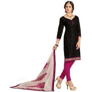 Shopping Queen Exquisite Black Chanderi Semi-Stitched Salwar Suit