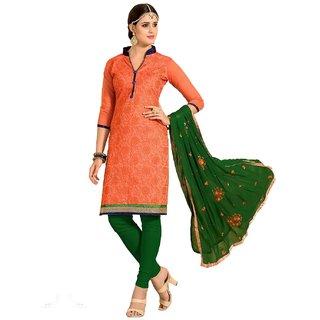 Shopping Queen Exquisite Orange Chanderi Semi-Stitched Salwar Suit
