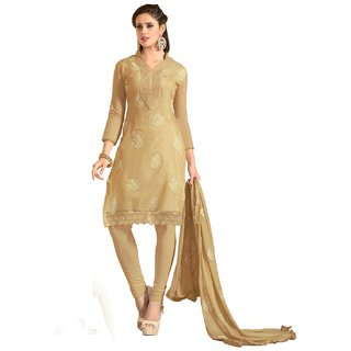 Shopping Queen Elegant Gold Chanderi Semi-Stitched Salwar Suit