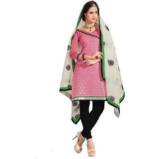 Shopping Queen Exquisite Pink Chanderi Semi-Stitched Salwar Suit