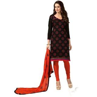 Shopping Queen Elegant Black Chanderi Semi-Stitched Salwar Suit