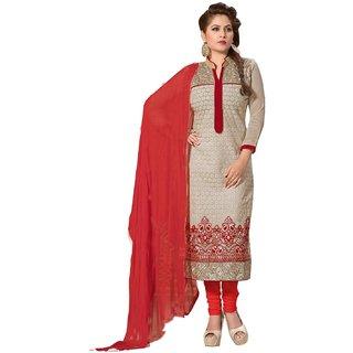 Shopping Queen Elegant Red Chanderi Semi-Stitched Salwar Suit
