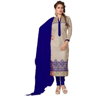 Shopping Queen Exquisite Blue Chanderi Semi-Stitched Salwar Suit