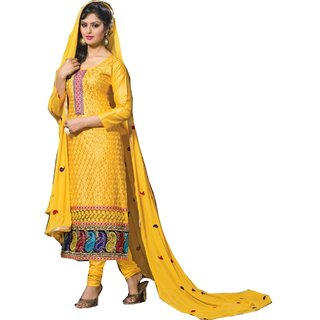 Shopping Queen Elegant Yellow Cotton Semi-Stitched Salwar Suit