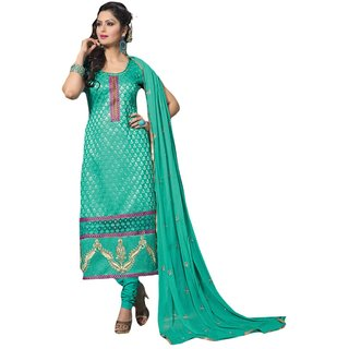 Shopping Queen Turqouise Cotton Semi-Stitched Salwar Suit