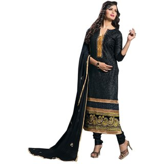 Shopping Queen Exquisite Black Cotton Semi-Stitched Salwar Suit