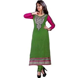 Shopping Queen Pretty Green Chanderi Semi-Stitched Salwar Suit