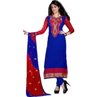 Shopping Queen Elegant Blue Chanderi Semi-Stitched Salwar Suit