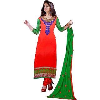 Shopping Queen Elegant Orange Chanderi Semi-Stitched Salwar Suit