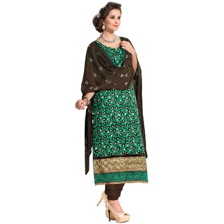 Shopping Queen Elegant Green Chanderi Semi-Stitched Salwar Suit