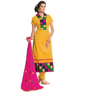 Shopping Queen Yellow Chanderi Semi-Stitched Salwar Suit