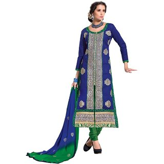 Shopping Queen Blue Chanderi Semi-Stitched Salwar Suit