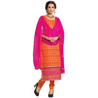 Shopping Queen Orange Chanderi Semi-Stitched Salwar Suit