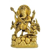 Redbag Lord Ganesha Killing Demon Rare 8 Inch Brass Statue BS - 4455 For Worship