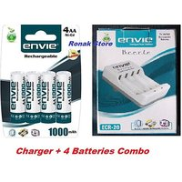 Cell Charger + Envie AA 1000 MAh 4 Pc Rechargeable Battery Ni-Cd Combo