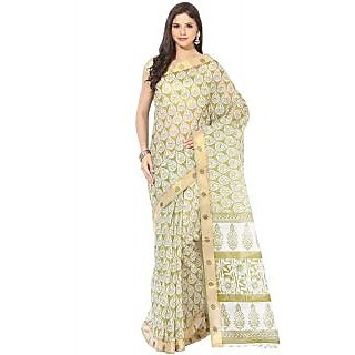 Fostelo Green Cotton Printed Saree With Blouse