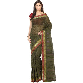 Fostelo Double Jacquard Dark Green Saree