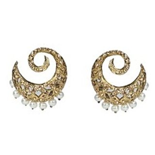 Moonstruck Halfmoon Crystal Earrings With Pearl Beads Option-1