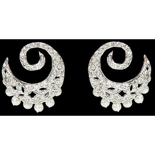 Moonstruck Halfmoon Crystal Earrings With Pearl Beads Option-2