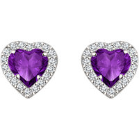 Silver Dew 925 Sterling Silver Halo Heart Amethyst CZ Diamond Earring