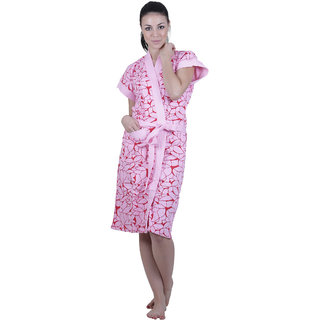 Vixenwrap Pink Modern Print Water Absorbent Cotton Bathrobe
