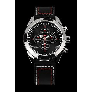 Android Satelgraph AD688AK 48MM Chronograph Analog Black Dial Men's Black Leathe
