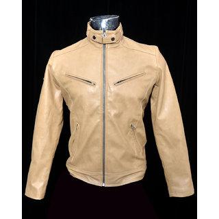 Lambency Tan PU Leather Casual Biker Jacket For Men