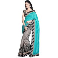 Janasya Turquoise And Grey Saree With Unstitched Blouse