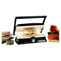 Nova 3 In 1 Panni Grill Press With Adjustable Temperature Control And Ceramic Coating(Black And White)