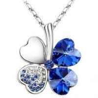 Austrian Crystal Four Leaf Leaves Clover Heart Blue Rhinestones Pendant w/ Chain
