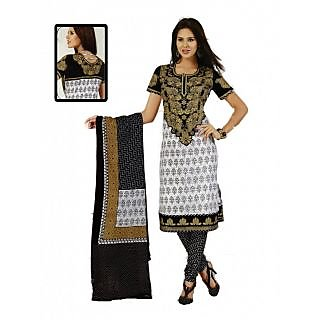 Salwar Studio White & Black Unstiched Churidaar Kameez with Dupatta