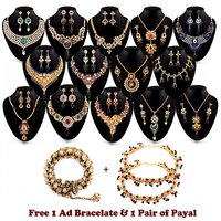 Exotic 14 Gold Plated Jewellery Collection with 1 Kada  1 Pair Payal Free