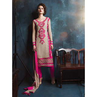 Sareemall Beige Cotton Embroidered Salwar Suit Dress Material