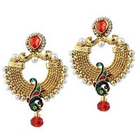 Kriaa Gold Plated Multicolor Peacock Design Pearl Earrings - 1303772
