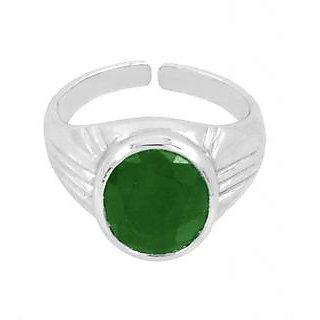 Avaatar 10.25 Ratti Emerald Gemstone Astrological Ring In Sterling Silver In Heavy Setting