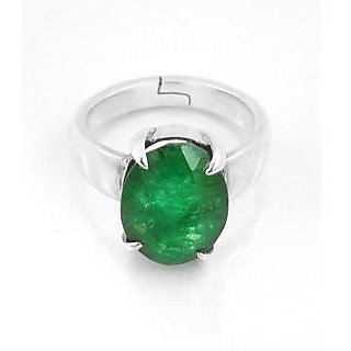 Avaatar 3.25 Ratti Emerald Gemstone Astrological Ring In Sterling Silver In Heavy Setting