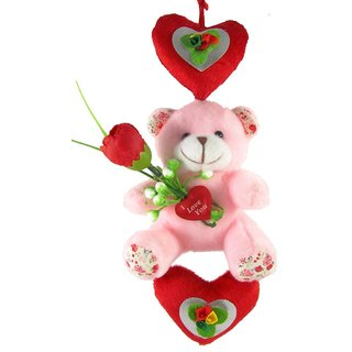 Tickles Pink Teddy with Hanging Heart Stuffed Soft Plush Toy Teddy Bear 20 cm T636