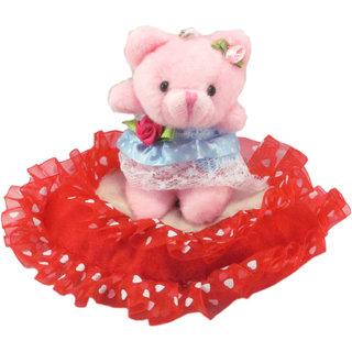 Tickles Pink Cute Teddy Heart Stuffed Soft Plush Toy Teddy Bear 13 cm T707