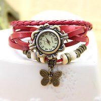 Red Bracelet Round Eiffel Tower Vintage Leather Analog Watch For Women