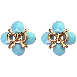 Fancy Bow Style Blue Stud Earrings - 741.16